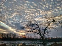 Sunrise on the Missouri river today. Stock Images