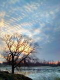 Sunrise on the Missouri river today. Royalty Free Stock Photo