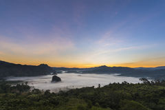 Sunrise and Mist Royalty Free Stock Photography