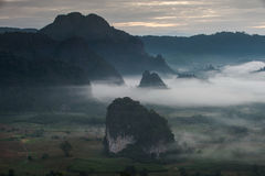 Sunrise and The Mist with Mountain Background in the morning, La Stock Photography