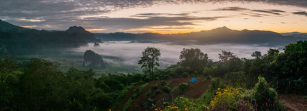 Sunrise and The Mist with Mountain Background in the morning, La Royalty Free Stock Images