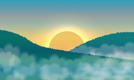 Sunrise and mist in the mountains. Landscape Vector stock illustration