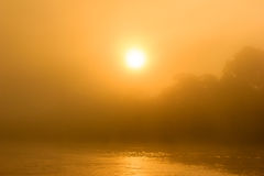 Sunrise through the mist in a tropical rainforest. Sunrise through mist and fog over a tropical rainforest river stock photo