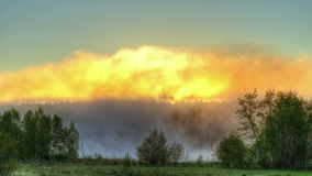 Sunrise through the mist. True HDR. Bright colors stock video