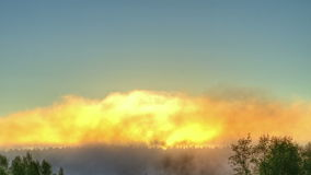 Sunrise through the mist. True HDR. Bright colors. And high contrast. Time Lapse. Video stock video footage