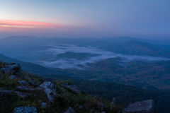 Sunrise Misty landscape. Landscape with fog view on mountain in Thailand Stock Photos