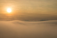 Sunrise Over the Misty Mountains Royalty Free Stock Photography