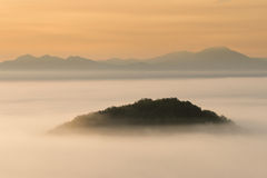 Sunrise Over the Misty Mountains Royalty Free Stock Images