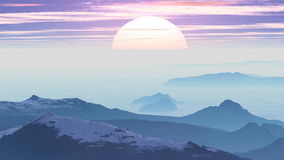 Sunrise in the misty mountains stock video