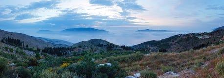 Sunrise misty summer landscape ( Kefalonia, Greece). Stock Photography