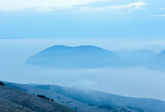 Sunrise misty top view to  Ithaka island (Kefalonia, Greece). Royalty Free Stock Images