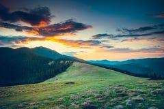 Sunrise in montain landscape stock photo