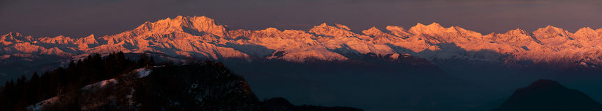 Sunrise, Monte Rosa Stock Image