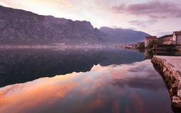 Sunrise in Montenegro. Beautiful morning on the coast of Boka bay in Montenegro, shot made at the dawn Stock Image