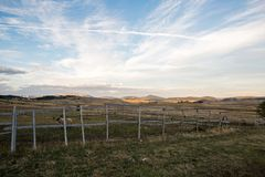 Sunrise in Montenegro mountains in the background and fields Royalty Free Stock Photography