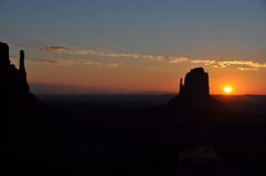 Sunrise in the Monument Valley Royalty Free Stock Photo