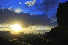 Sunrise at Monument Valley Stock Photography