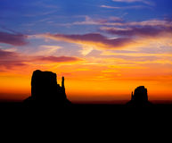 Sunrise at Monument Valley West and East Mittens Butte Stock Photo