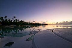 Sunrise on Moorea. Early Sunrise on Moorea, from a catamaran boat anchored on the lagoon Stock Photography