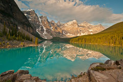 Sunrise of Moraine Lake Stock Photos