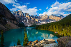 Sunrise at Moraine lake Stock Images