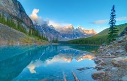 Sunrise at Moraine lake. Moraine lake in Banff National Park, Alberta, Canada Stock Image