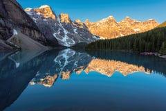Sunrise at Moraine lake in Canadian Rockies, Banff National Park, Canada. Royalty Free Stock Image