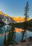 Sunrise at Moraine lake in Canadian Rockies, Banff National Park, Canada. Royalty Free Stock Photo