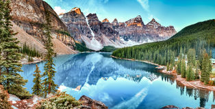 Sunrise at Moraine lake Stock Image