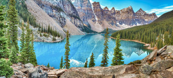 Sunrise at Moraine lake. Moraine lake panorama in Banff National Park, Alberta, Canada Stock Photography