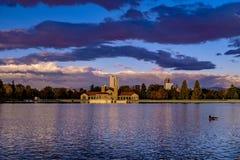 Sunrise in city park in Denver, Colorado royalty free stock photos