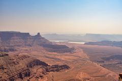 Sunrise morning at Dead Horse Point State Park. Fog beautiful landscape royalty free stock photo