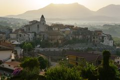 Sunrise with a morning fog. Valley of the Volturno, Squille an town in the province of Caserta, region Campania Italy, August 2013 Royalty Free Stock Images