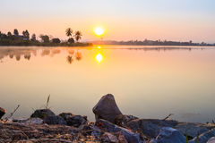 Sunrise in the morning with lake Stock Photography
