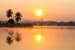 Sunrise in the morning with lake Stock Photos