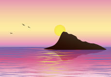 Sunrise. Morning landscape on the sea. Vector illustration. Stock Photo