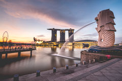 Sunrise in the morning at Merlion, Marina Bay, Singapore. Asia Stock Image