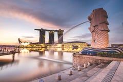 Sunrise in the morning at Merlion, Marina Bay, Singapore Stock Images
