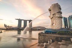 Sunrise in the morning at Merlion, Marina Bay, Singapore Stock Image