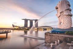 Sunrise in the morning at Merlion, Marina Bay, Singapore. Asian Stock Photo