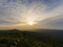 Sunrise in the morning on mountain, beautiful landscape.  Stock Photos