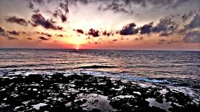 Sunrise morning ocean beach sea sky sun stock images