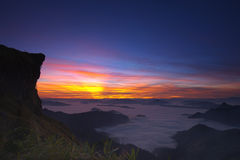 Sunrise in morning at Phu Chi Fa. Chiangrai ,Thailand stock image