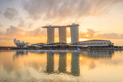 Sunrise in the morning at Singapore Marina Bay stock photos