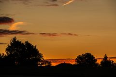 Sunrise in the morning. And yellow sky and dark shadows Royalty Free Stock Photography