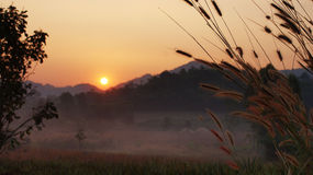 Sunrise. In the morning at Uthaitane in thailand.Cool picture warming temperlature and beautiful nature stock photo