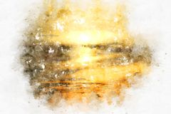 Sunrise in the morning on watercolor painting background. Abstract sunlight, sunrise in the morning on watercolor painting background vector illustration