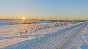Sunrise. morning on winter road Stock Images