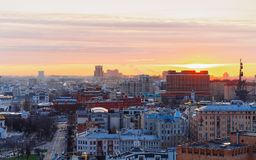 Sunrise in Moscow city in Russia. In the morning royalty free stock photography