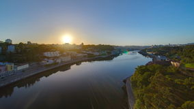 Sunrise at the most emblematic area of Douro river stock video footage